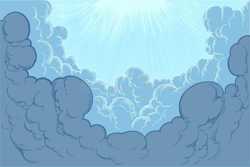 Лучи солнца освещают облака покрашенная вручную гравировка бесплатная иллюстрация