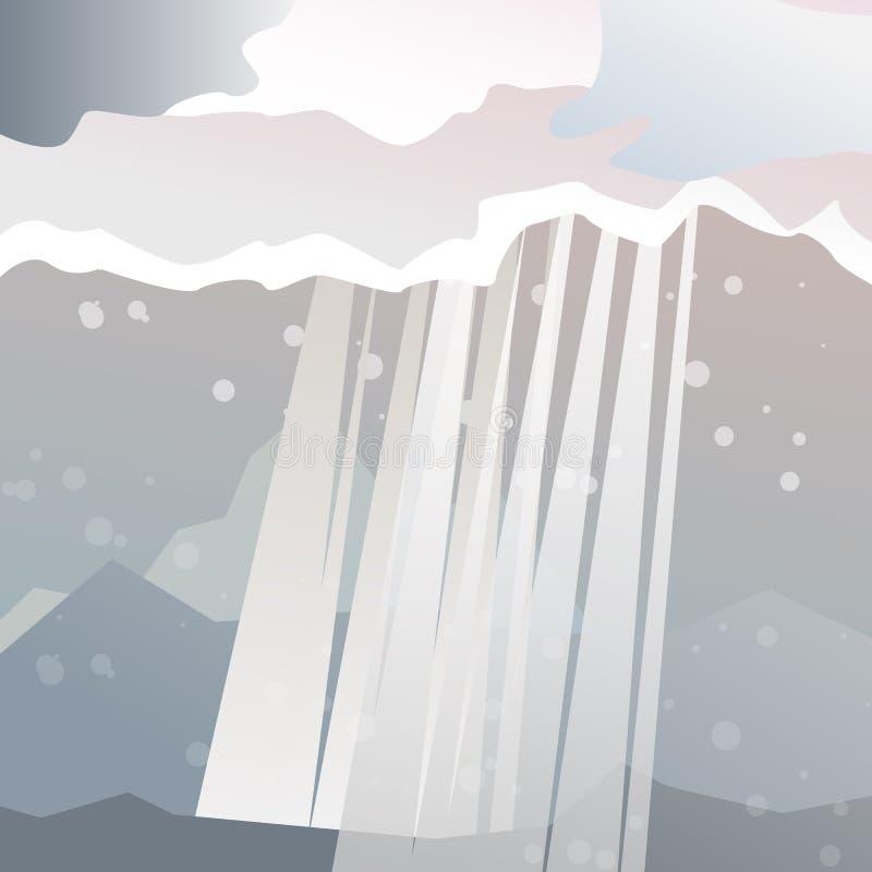 Лучи Солнця на дождливом дне в ландшафте долины иллюстрация вектора