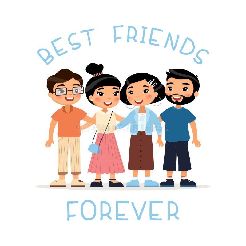 Лучшие други навсегда 4 азиатских обнимать друзей молодых женщин и молодых людей иллюстрация штока
