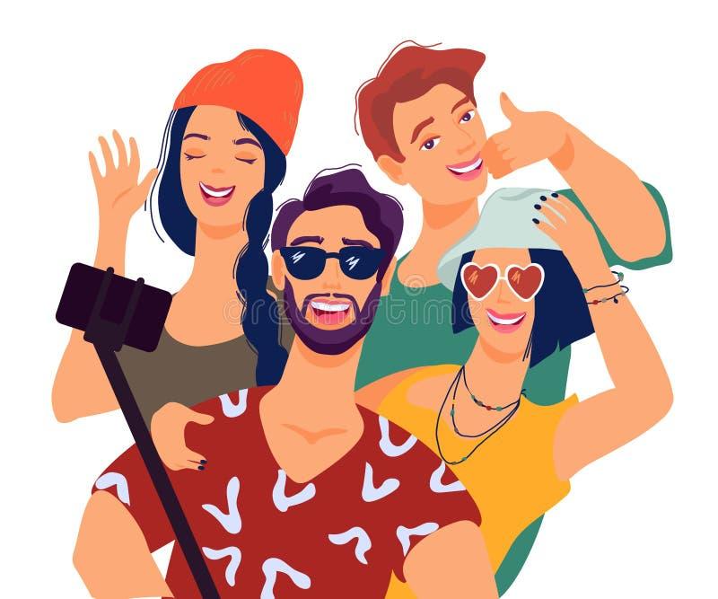 Лучшие други принимая selfie с иллюстрацией вектора смартфона плоской изолировали иллюстрация штока