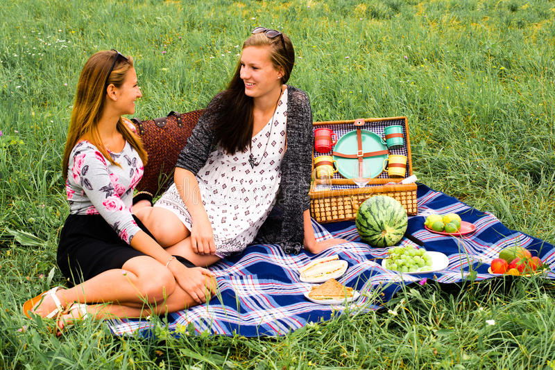Лучшие други имея пикник стоковая фотография
