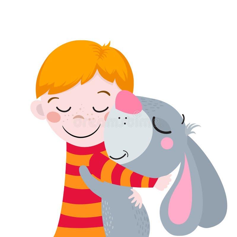 Лучшие други Милые шаржи мальчик и кролик Соответствующий для дизайна пасхи иллюстрация вектора
