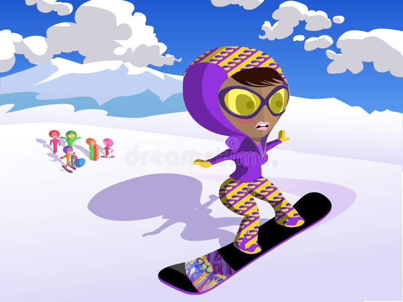 лыжа девушки иллюстрация штока