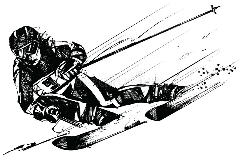 лыжа конкурента действия бесплатная иллюстрация