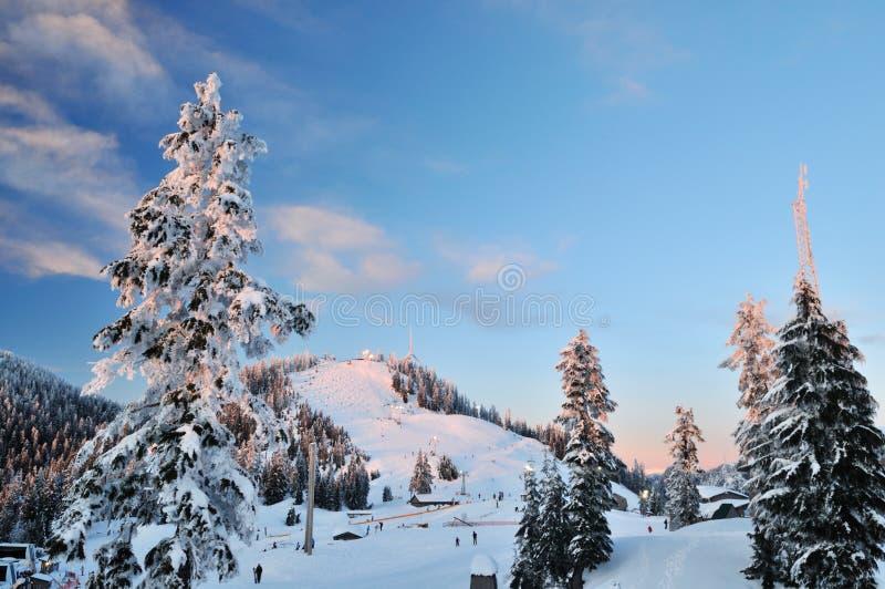лыжа сезона горы grouse стоковое фото rf