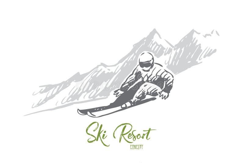 Лыжа, снег, зима, спорт, весьма концепция r иллюстрация штока