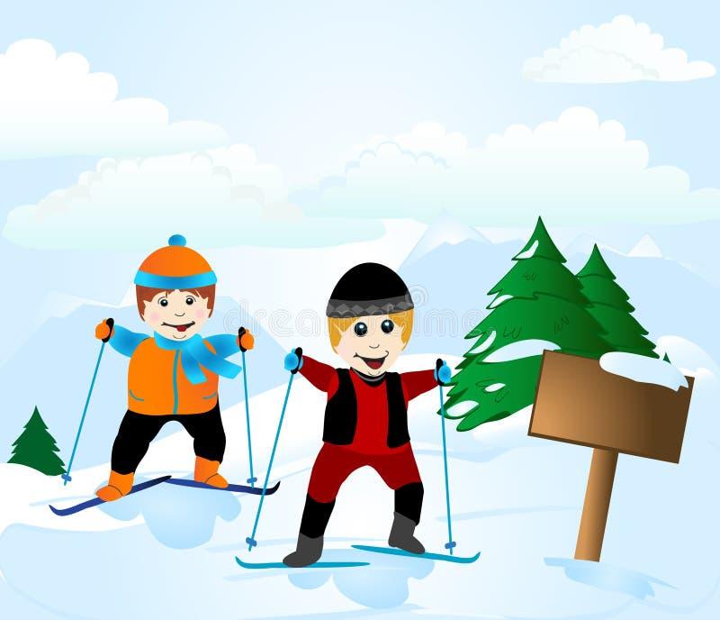 лыжа школы иллюстрация штока