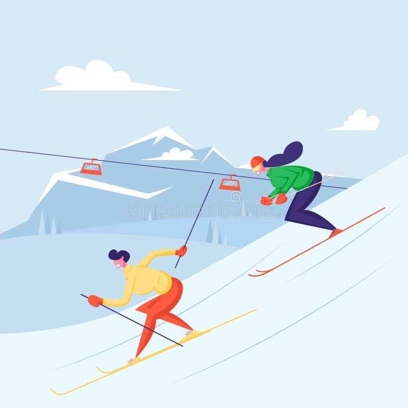 Лыжи на лыжах Мужчина и женщина-лыжница катаются на холмах в зимний сезон Вид спортивной активности на горном курорте иллюстрация штока
