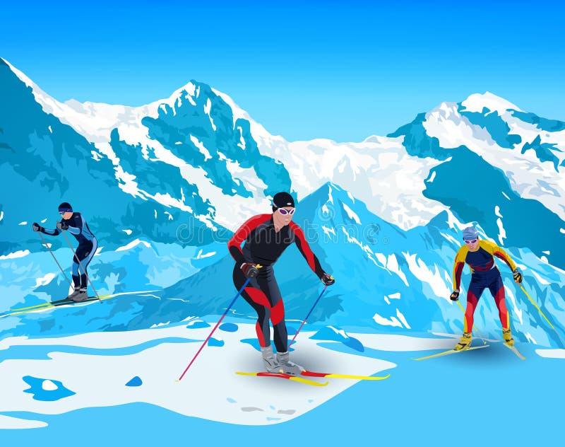 Лыжники в горах иллюстрация вектора