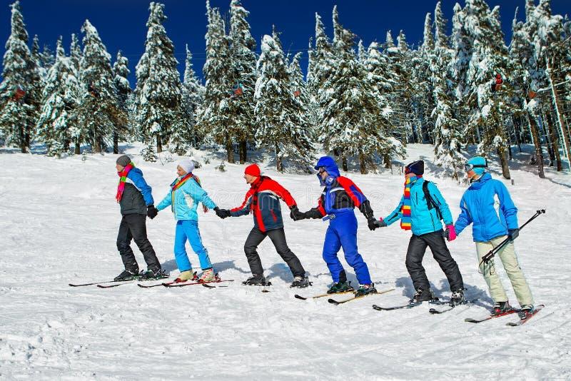 Лыжники приходят вверх стоковое фото rf