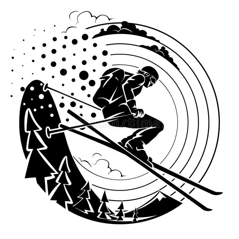 Лыжник бесплатного проезда иллюстрация штока