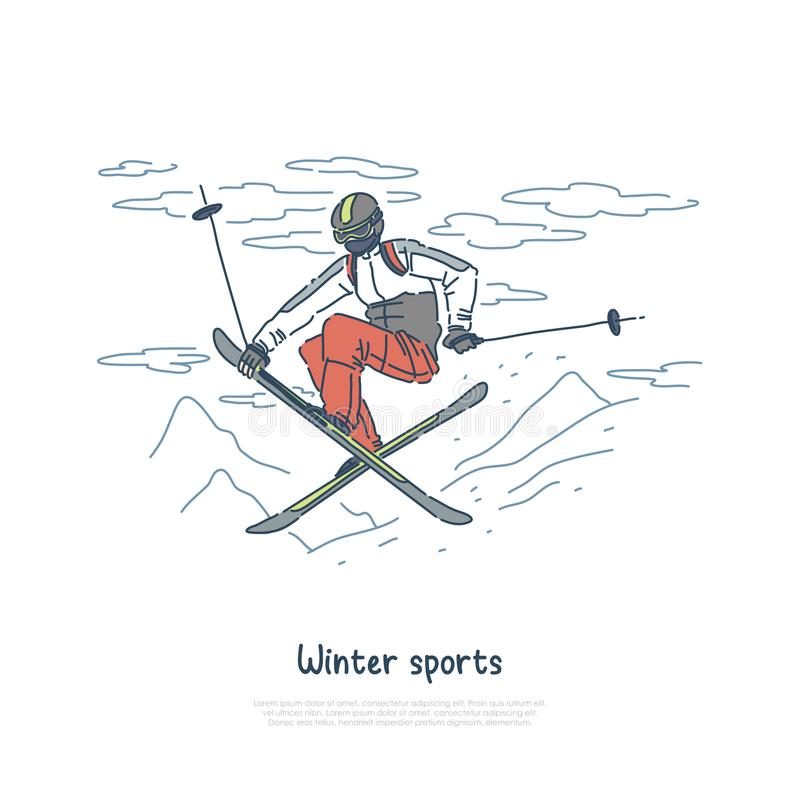 Лыжник в sportswear, тренировке прыгуна для турнира, весьма отдыха, мероприятий на свежем воздухе, знамени прыжков с трамплина иллюстрация вектора