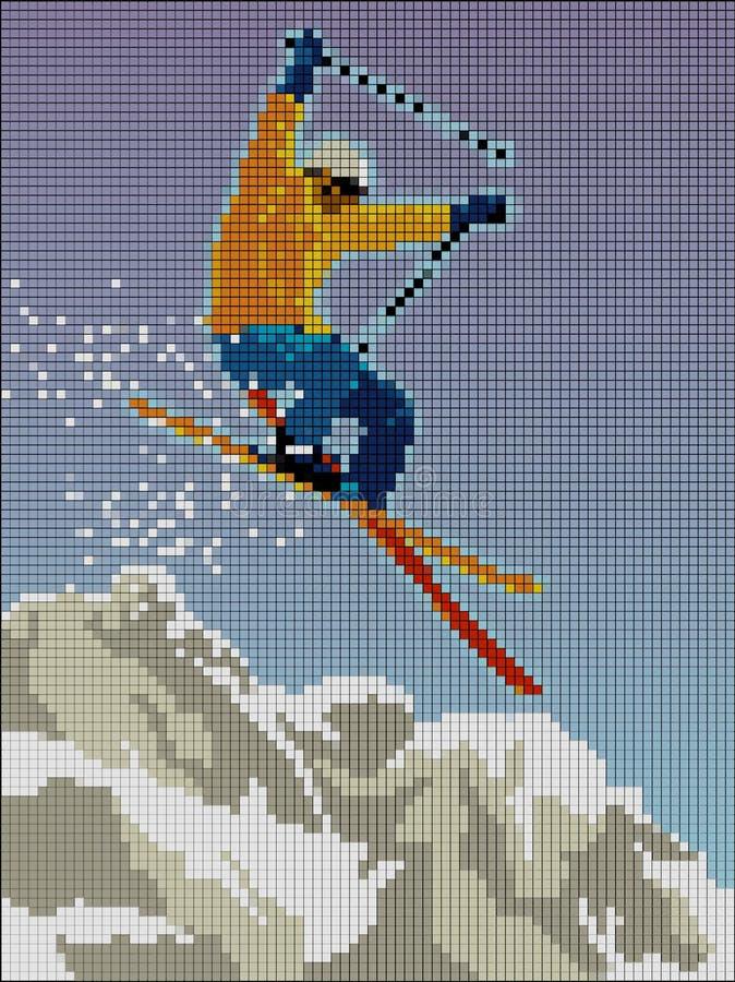 Лыжник скача при гора составленная пикселов бесплатная иллюстрация