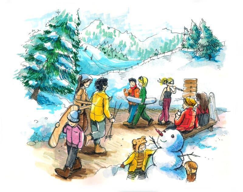 Лыжный курорт, каникулы на зима бесплатная иллюстрация