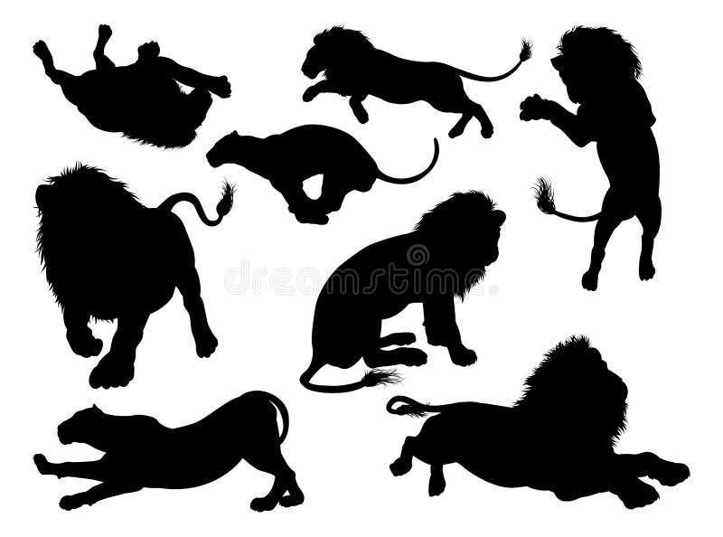 Львы силуэта иллюстрация вектора