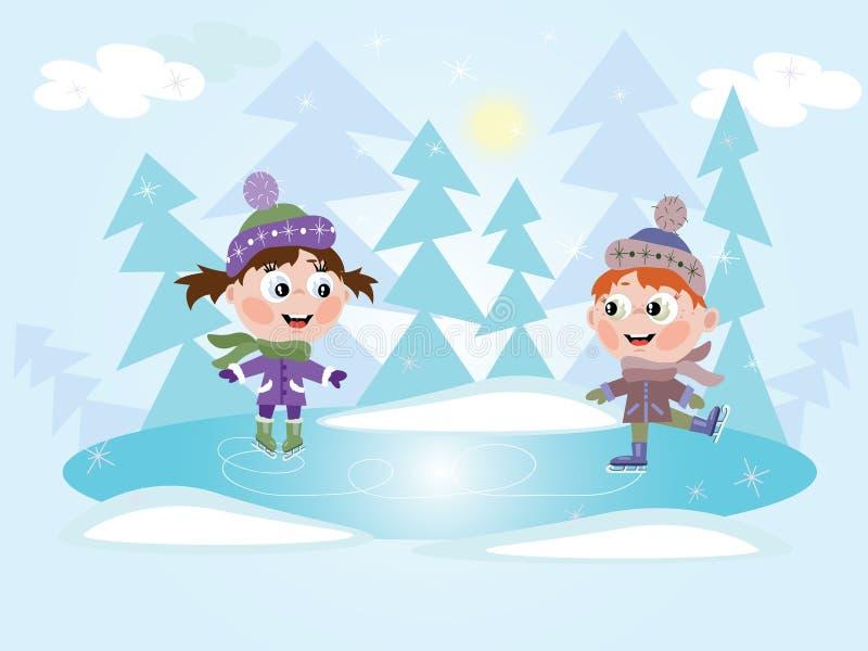 льдед девушки мальчика меньшяя катаясь на коньках зима стоковое изображение
