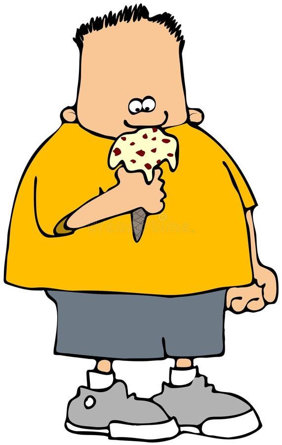 льдед еды конуса мальчика cream бесплатная иллюстрация