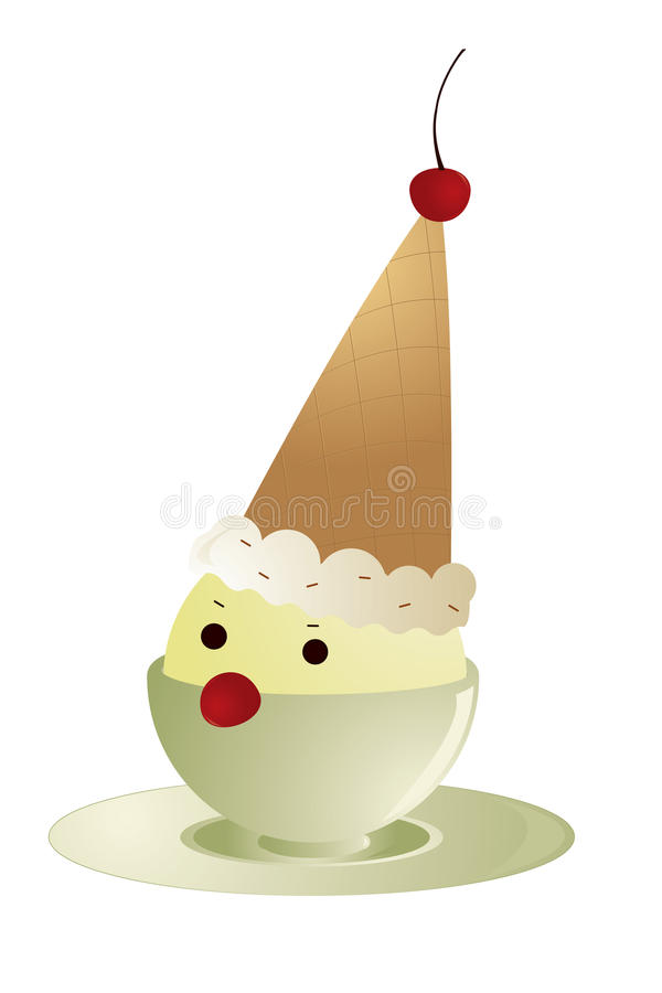льдед клоуна cream иллюстрация штока