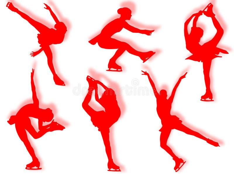 льдед silhouettes конькобежец стоковое фото
