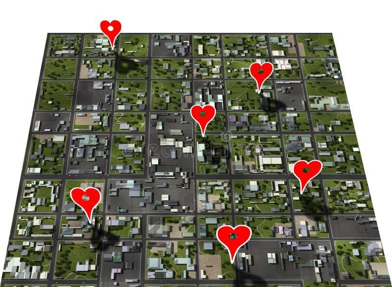 любимейшее placemark места отметки карты устанавливает городок стоковая фотография