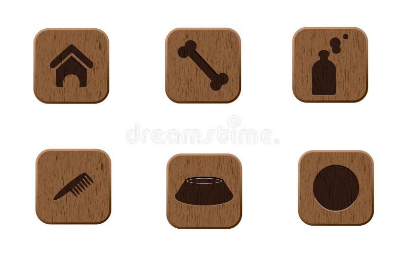любимчики икон установили деревянной иллюстрация вектора