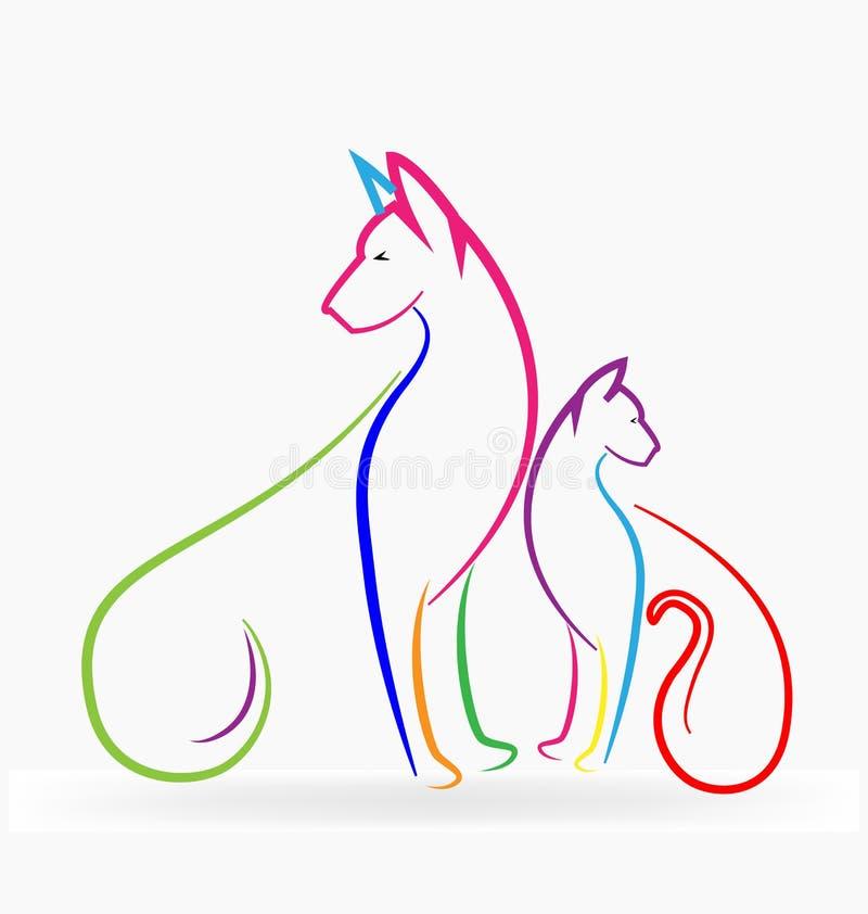 Любимчики кота и собаки красочные иллюстрация вектора