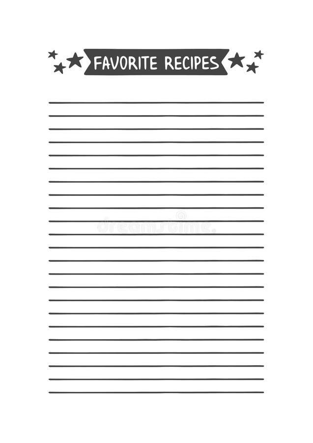 Любимые рецепты Printable организатор для исследования, школы или работы бесплатная иллюстрация