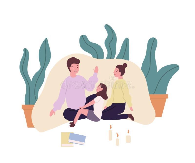 любить семьи Усмехаясь мать, отец и дочь сидя в форте одеяла и говоря рассказы или сказки мило иллюстрация штока