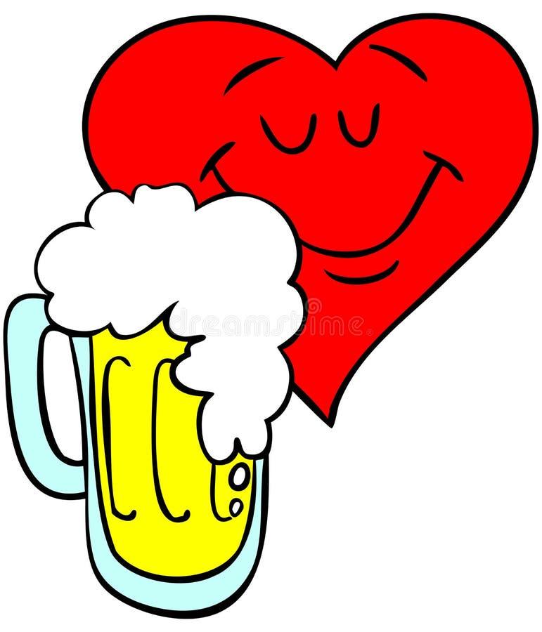 любить сердца пива иллюстрация вектора