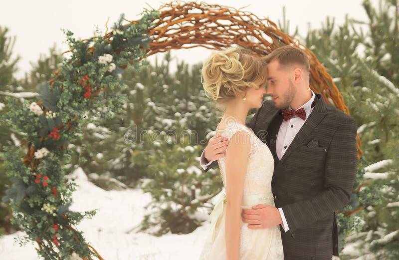 2 любовника, человек и женщина, свадьба в зиме Влюбленность жениха и невеста против фона оформления и деревьев, снег Держать a стоковые фото
