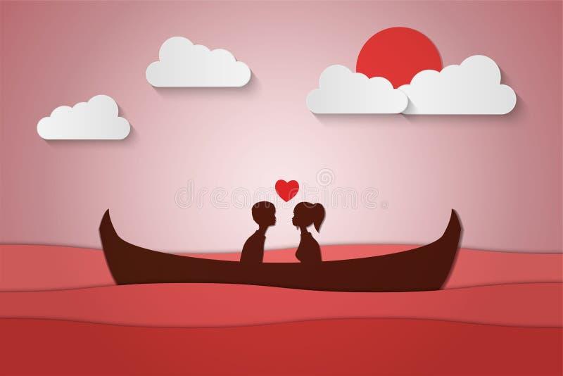 Любовники сидят на шлюпке в середине моря и имеют заход солнца, бумажный медовый месяц пар искусства, дату дня валентинки бесплатная иллюстрация