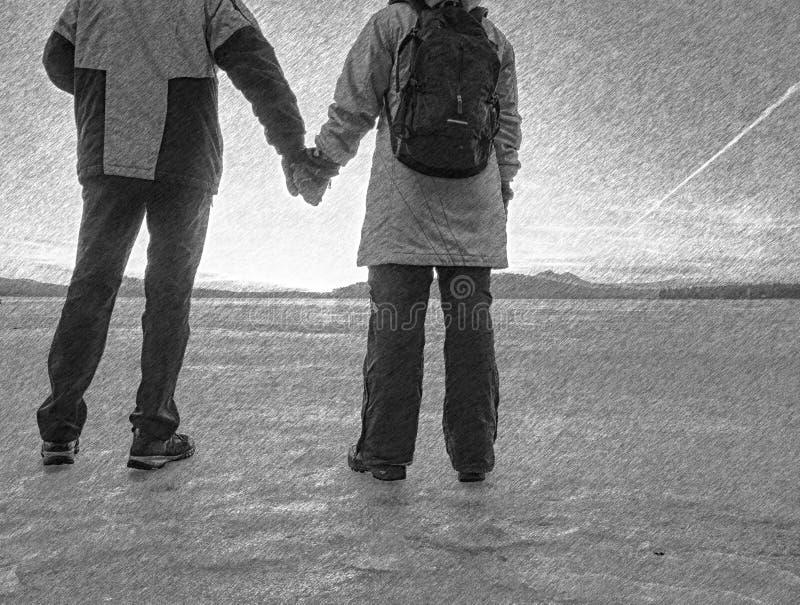 Любовники стоя совместно через материальные затруднения, проблемы отношения стоковое изображение