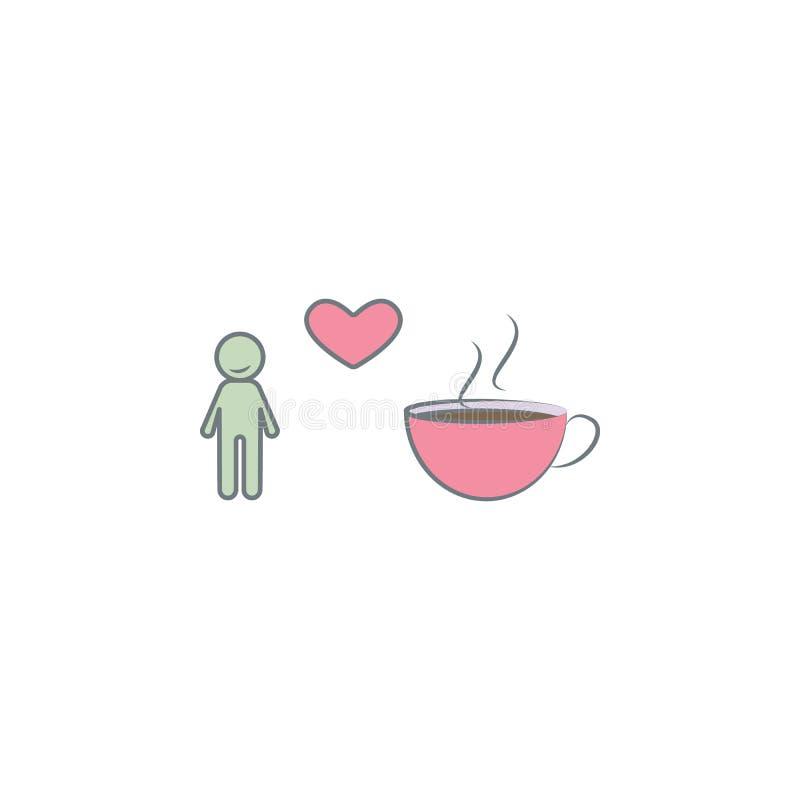 любовник значка покрашенного кофе Элемент покрашенного значка кофе для передвижных apps концепции и сети Любовник цвета значка ко иллюстрация вектора