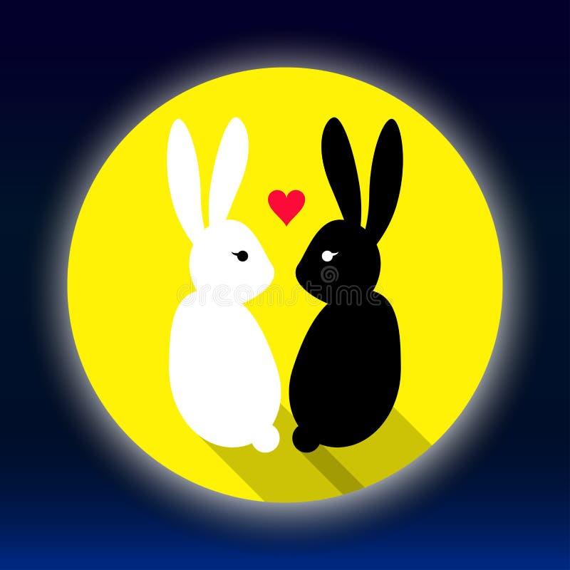 Любовник кроликов на луне бесплатная иллюстрация
