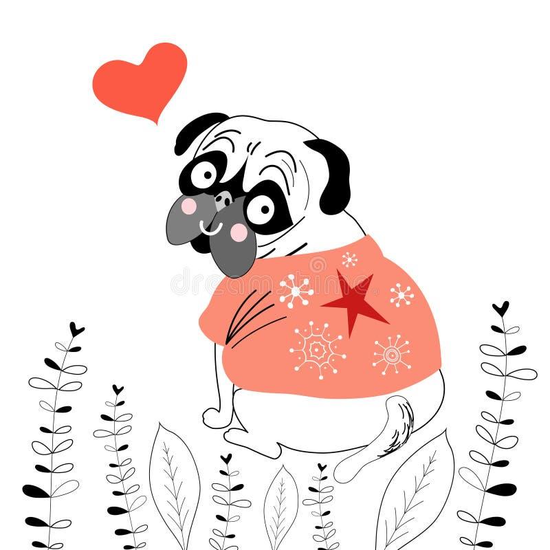 Любовник мопса иллюстрация штока