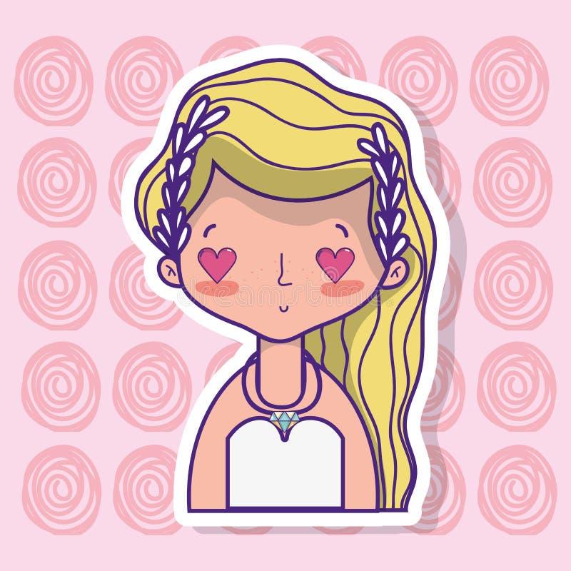 Любовник невесты с дизайном мантии и стиля причёсок бесплатная иллюстрация