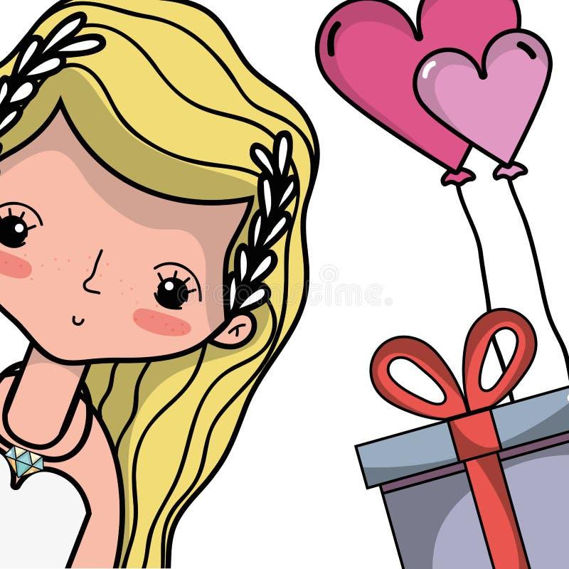 Любовник невесты с дизайном мантии и стиля причёсок иллюстрация штока