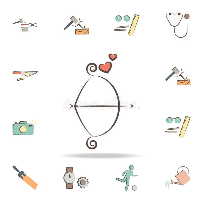 любовник оборудует значок Детальный набор инструментов различных значков профессии Наградной графический дизайн Один из значков с бесплатная иллюстрация