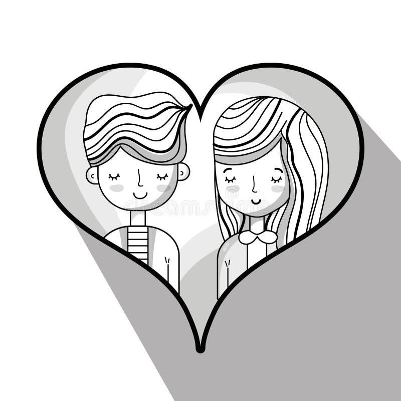Любовник пар внутри дизайна сердца иллюстрация вектора