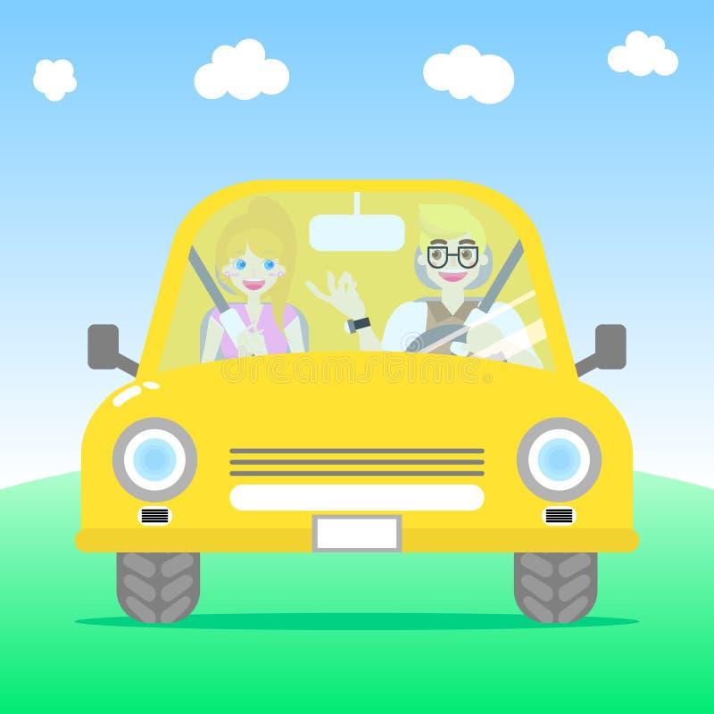Любовник пар человека и женщины управляя желтым автомобилем в виде спереди иллюстрация вектора