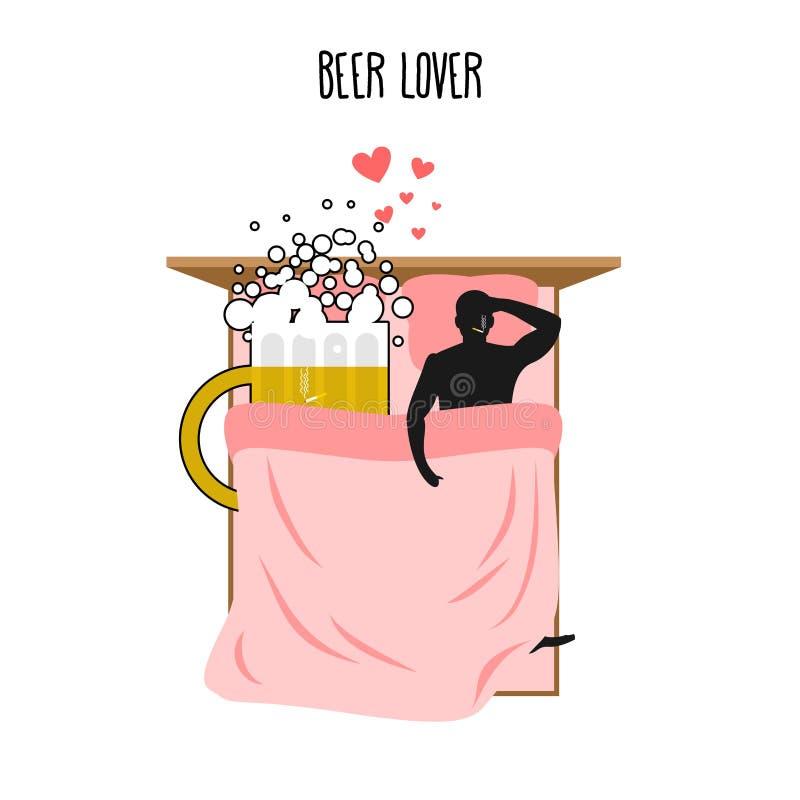 Любовник пива Кружка и человек пива Любовники в взгляд сверху кровати Куря af иллюстрация штока