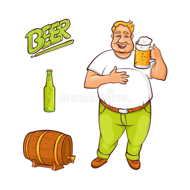 Любовник пива шаржа вектора и комплект символов иллюстрация штока