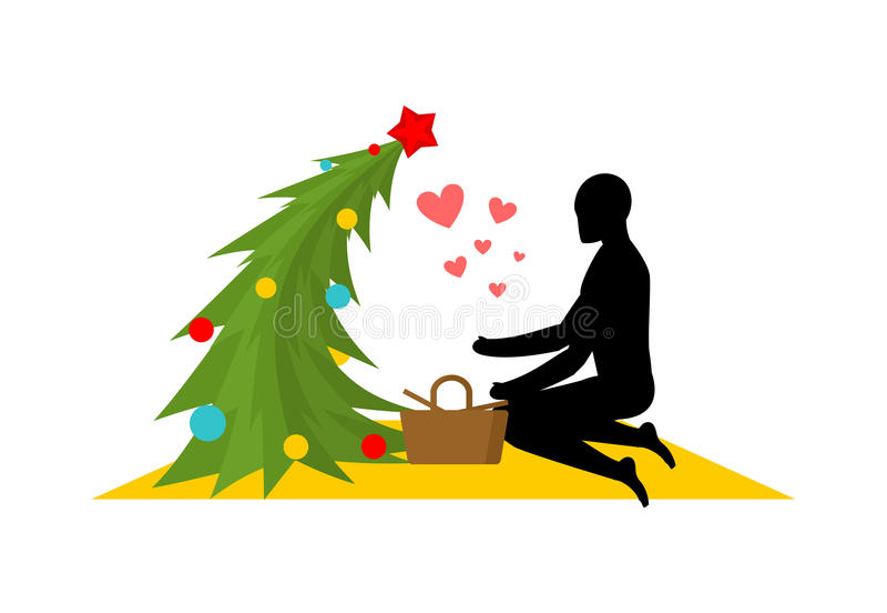 Любовник рождества Рождественская елка на пикнике Встреча в парке M иллюстрация вектора