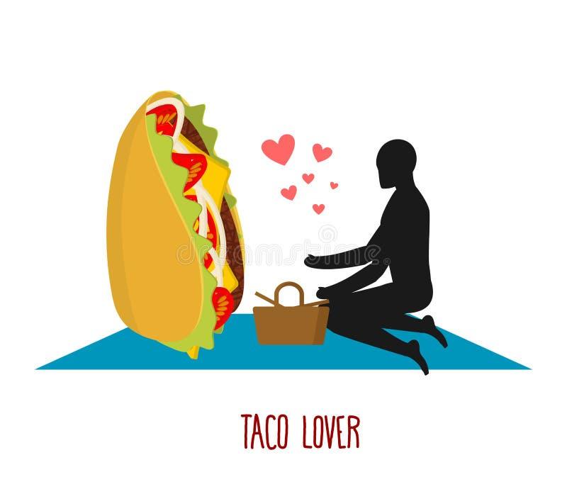 Любовник тако Мексиканская еда на пикнике Встреча в парке Фаст-фуд иллюстрация вектора