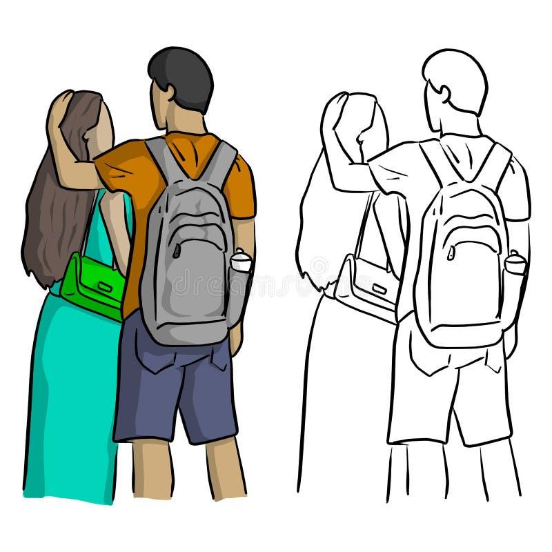 Любовник утешая doodle ha эскиза иллюстрации вектора одина другого бесплатная иллюстрация