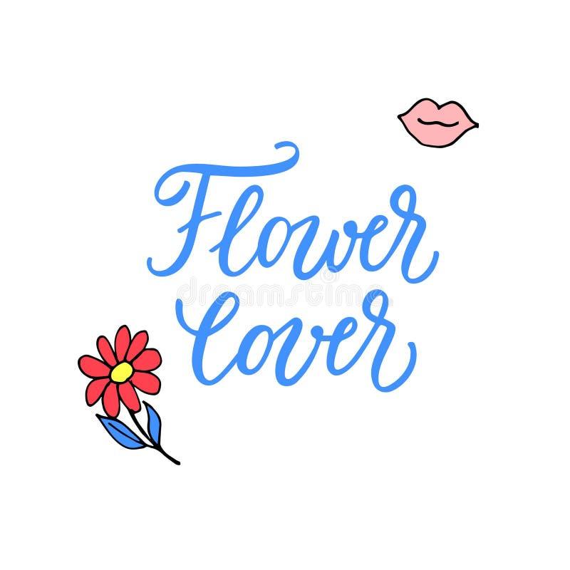 Любовник цветка! Мотивационная цитата с современной каллиграфией и женственными значками иллюстрация штока