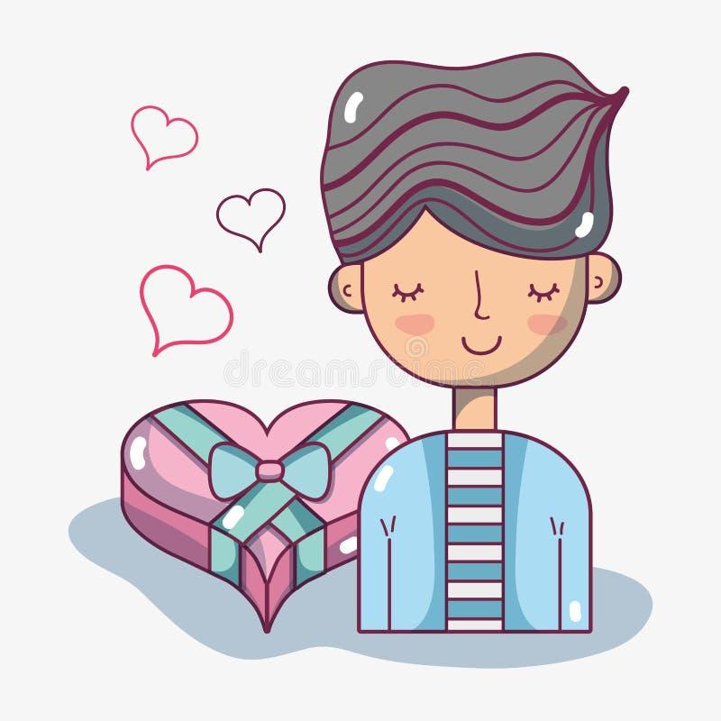 Любовник человека с дизайном шоколада сердца иллюстрация вектора