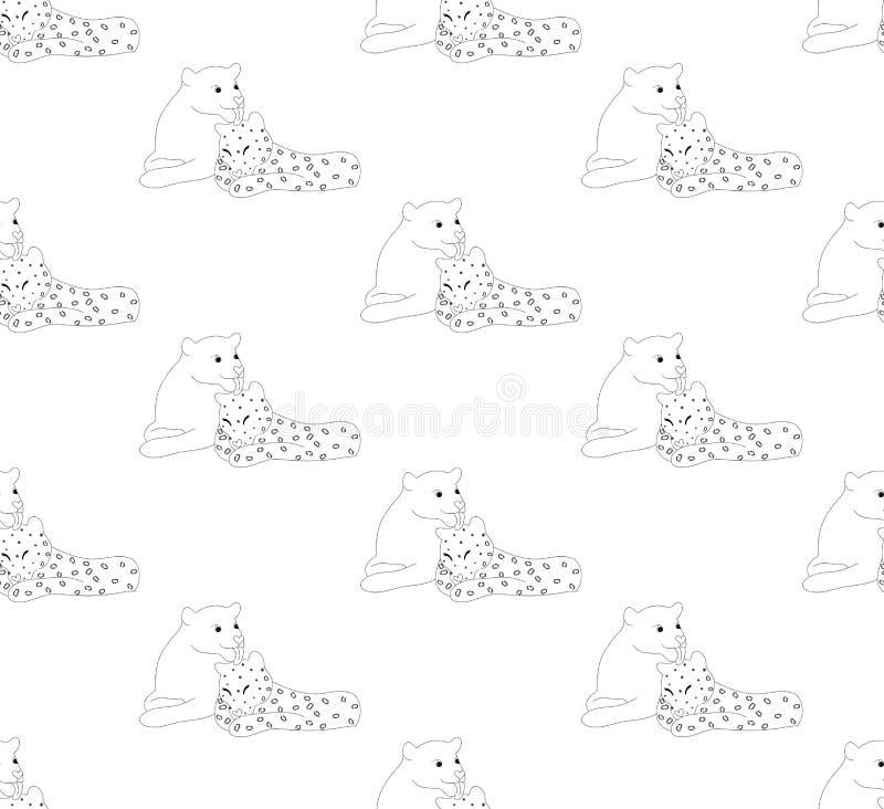 Любовник черной пантеры и леопарда на белой предпосылке также вектор иллюстрации притяжки corel иллюстрация вектора