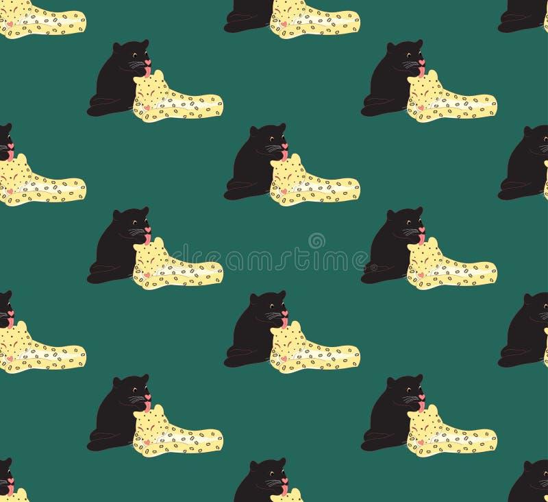 Любовник черной пантеры и леопарда на зеленой предпосылке также вектор иллюстрации притяжки corel бесплатная иллюстрация