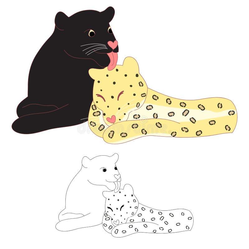 Любовник черной пантеры и леопарда также вектор иллюстрации притяжки corel белизна изолированная предпосылкой иллюстрация вектора
